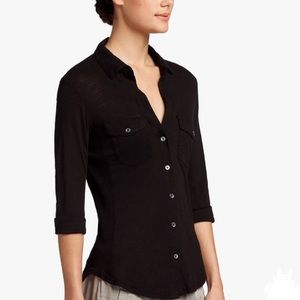James Perse Slub Side Panel Button-down Shirt, 2